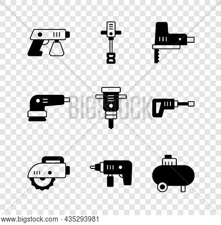 Set Paint Spray Gun, Electrical Hand Concrete Mixer, Jigsaw, Circular, Drill Machine, Air Compressor
