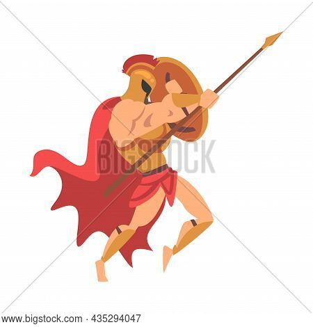 Spartan Man In Red Cloak And Helmet Armed With Spear And Shield Attacking Vector Illustration