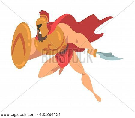 Spartan Man In Red Cloak And Helmet Armed With Sword And Shield Attacking Vector Illustration
