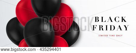 Black Friday Horizontal Banner. Sale Template With Realistic Red And Black Balloons Flying On A Ligh