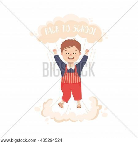 Superhero Little Boy At School Flying Up With Raised Hands Achieving Goal And Gaining Knowledge Vect