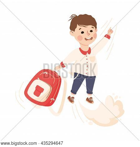Superhero Little Boy At School Flying Forward With Backpack Achieving Goal And Gaining Knowledge Vec