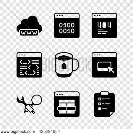 Set Web Development, Binary Code, Page With 404 Error, Debugging, Mysql, Clipboard Checklist, Softwa