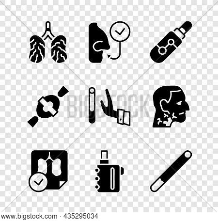 Set Disease Lungs, Healthy Breathing, Electronic Cigarette, Lungs X-ray Diagnostics, Cigarette, Cand