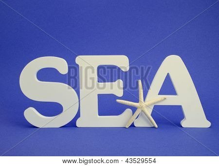 white letters spelling the word sea with white starfish on blue background