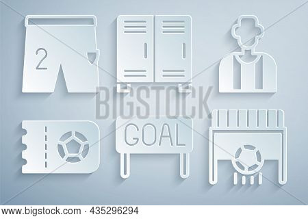 Set Goal Soccer Football, Football Or Referee, Ticket, Goal With, Locker Changing Room And Shorts Fo