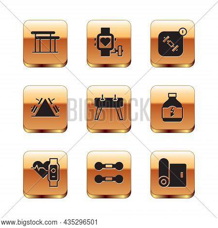 Set Uneven Bars, Smart Watch With Heart, Dumbbell, Pommel Horse, Metal Rack Weight, Fitness App, Mat