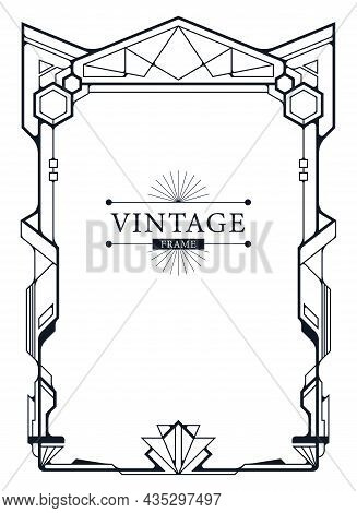 Abstract Luxury Ornamental Art Deco Design Blue Background In Gold Color Template.