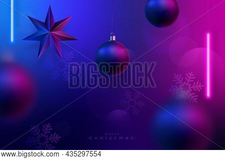 Christmas Neon Lighting Background. Xmas Decoration, Violet And Blue Hanging  Neon Led Lamps. Christ