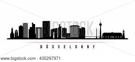 Dusseldorf Skyline Horizontal Banner. Black And White Silhouette Of Dusseldorf, Germany. Vector Temp