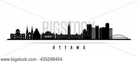 Ottawa Skyline Horizontal Banner. Black And White Silhouette Of Ottawa, Canada. Vector Template For