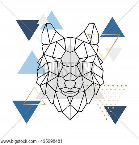 Geometric Wolf Head. Modern Printable Wall Art. Abstract Polygonal Head Wolf. Design For Tattoo, Log