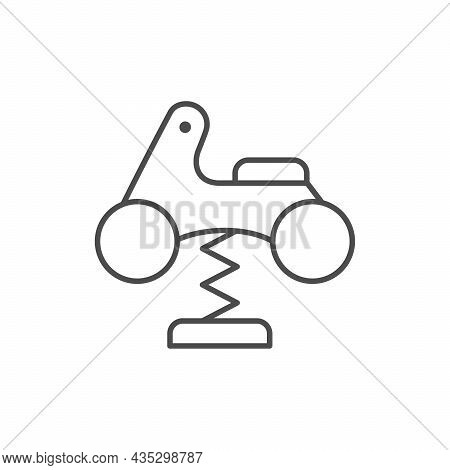 Spring Rider Line Outline Icon Isolated On White