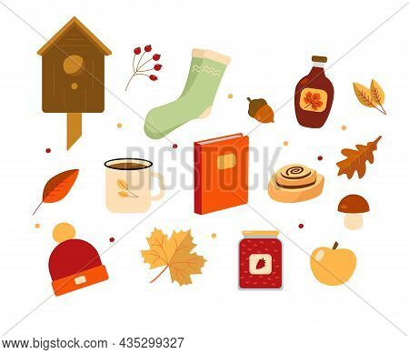 Autumn Set. A Cup Of Tea, Maple Syrup And Jam. Cinnamon Roll, Book, Yellow Leaves, Mushrooms And Ber