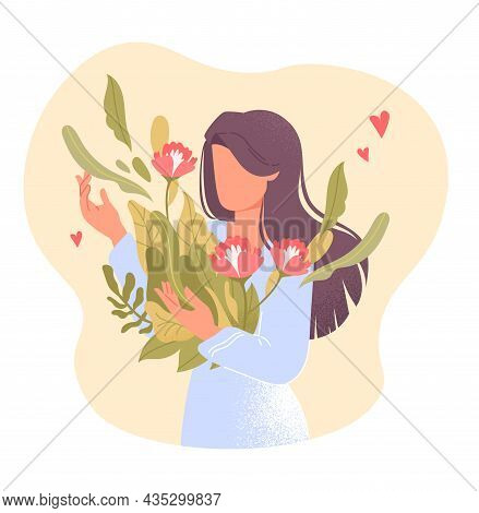 Love Yourself. Young Woman Holds Beautiful Flower In Her Hand. Girl Loves Her Body And Cares About B