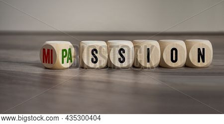 Cubes, Dice Or Blocks With Passion And Mission On Wooden Background