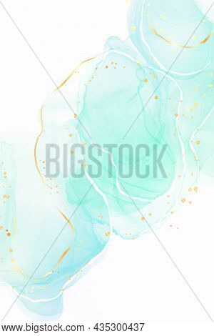 Light Turquoise And Teal Blue Liquid Marbled Watercolor Background With Golden Lines And Dots. Cyan