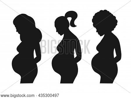 Set Of Pregnant Women Isolated On White Background. Silhouette Of A Pregnant Women. Vector Stock