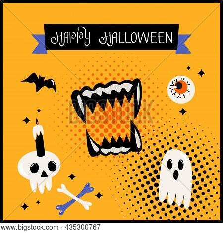 Happy Halloween Banner Or Greeting Card With Hand Lettering. Human Skull, Bite, Dracula's Grin, Eye,