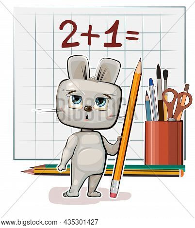 Cute Hare Baby Is Trying To Count. Studying Numbers And Counting. Funny Animal Kid. Stationery And P