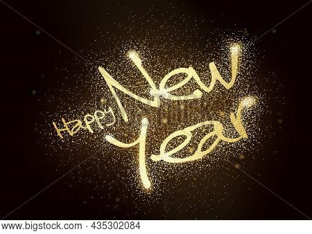 Happy New Year Glitter Greeting On Black Background - Abstract Illustration, Vector