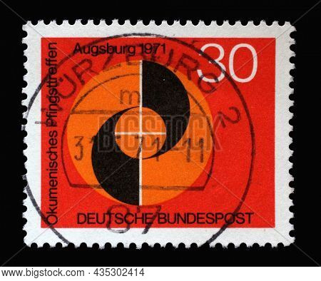 ZAGREB, CROATIA - JUNE 27, 2014: Stamp printed in Germany shows Congress emblem of Ecumenical Meeting at Pentecost of the German Evangelical and Catholic Churches in Augsburg, circa 1971