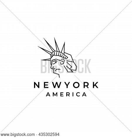 Line Art Landmark New York City, Statue Logo Design Vector Illustration
