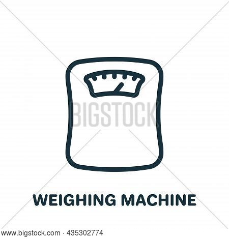 Weighing Machine Line Icon. Weight Control Concept Linear Pictogram. Bathroom Floor Scales Outline I