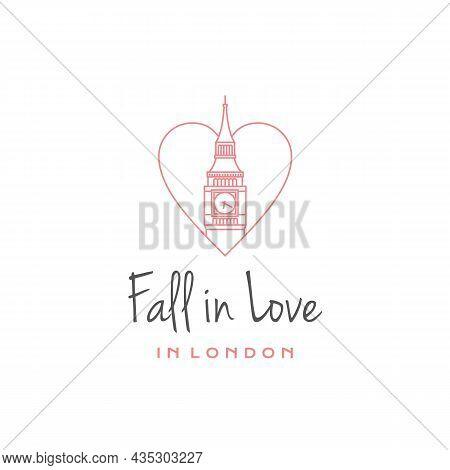 Line Art Big Ben With Love Logo Design Vector Template. Vector Logo Of The City Of London. Elizabeth