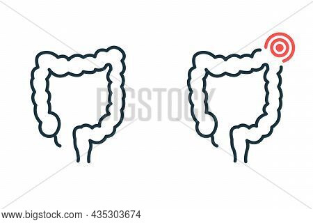Healthy And Sick Colon Line Icon. Diseased Bowel Outline Icon. Health, Illness Large Intestine Picto