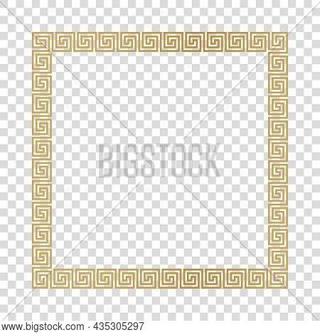 Greek Gold Frame, Square Meander Pattern, Vector