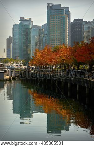 Vancouver, British Columbia, Canada - September 25, 2021. Coal Harbour Autumn Vancouver Bc. Fall Col