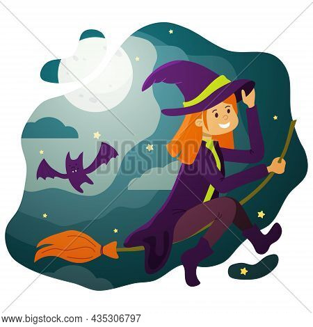 A Red-haired Witch On A Broomstick In The Starry Sky On Halloween Night.