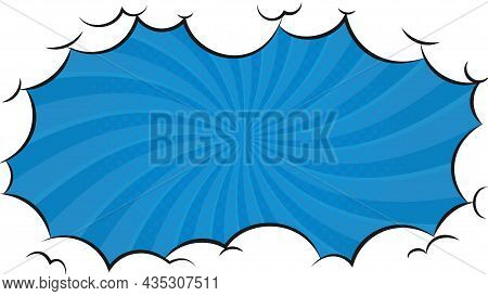 Blue Comic Style Background And Cartoon Puff Clouds. Pop Art Background. Boom, Pow Effect. Explosion