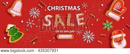 Christmas Holiday Sale Banner, Vector X-mas Discount Promotion Landing Page Red Background, Button.