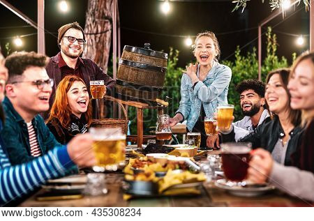 Happy Men And Women Having Fun Drinking Out At Beer Garden - Social Gathering Life Style Concept On