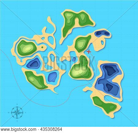 Top View Landscape Map With Cross Shape In Paper Cut Style. Aerial View 3d Background With Ocean For