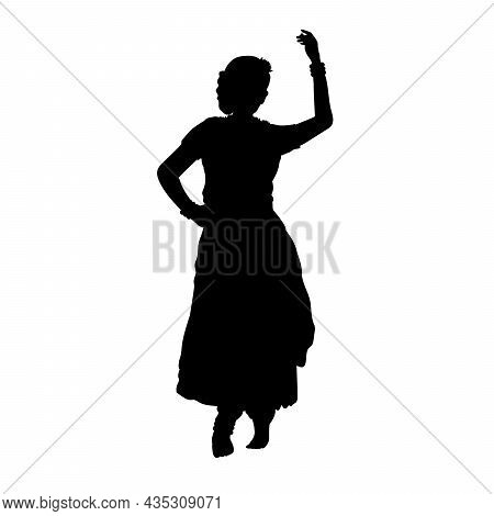Silhouette Of Dancing Indian Woman. Indian Culture And Religion. Illustration Symbol Icon