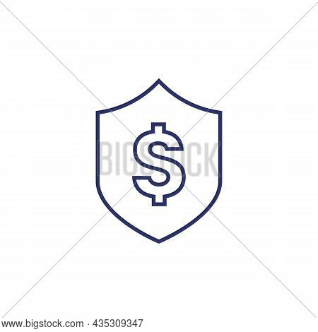 Shield With Dollar Icon, Line Vector Art