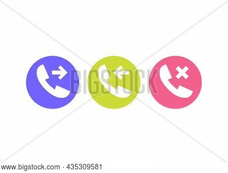 Phone Call, Incoming, Outgoing And Missed Icons