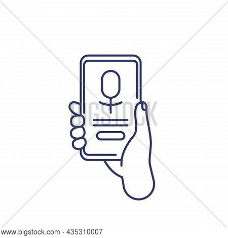 Voice Assistant App, Phone In Hand, Line Icon