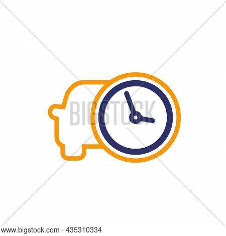 Ride Time, Car And Clock Icon, Vector