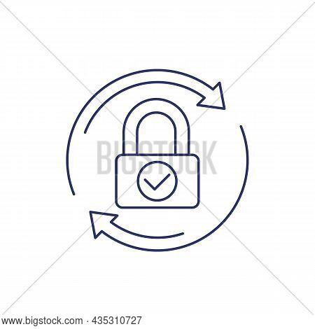 Password Reset, Change Line Icon On White
