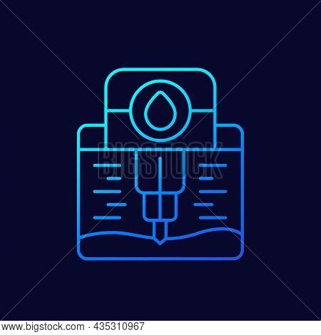 Water Borehole, Well Drilling Line Icon, Vector