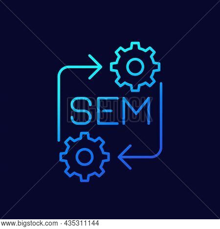 Sme Icon With Gears And Arrows, Line Design