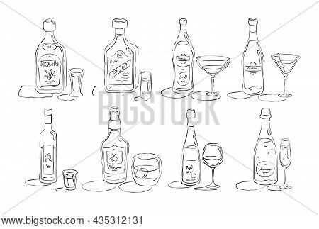 Bottle And Glass Tequila, Rum, Vermouth, Martini, Vodka, Whiskey, Wine, Champagne Together In Hand D