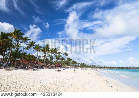 Santo Domingo, Dominican Republic - January 4, 2017: Caribbean Beach Landscape. Atlantic Ocean Coast