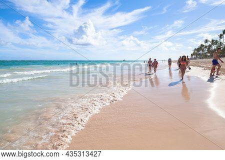 Santo Domingo, Dominican Republic - January 4, 2017: Coastal Caribbean Landscape. Atlantic Ocean Coa