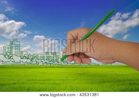 Hand Drawing City On Field