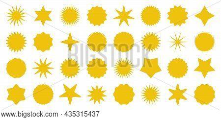 Retro Stars, Sunburst Symbols. Vintage Sunbeam Icons. Yellow Shopping Labels, Sale Or Discount Stick